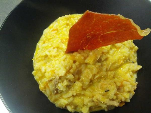 arroz cremoso de pollo trufado